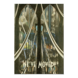 "Vintage NYC Architecture Bridge, Change of Address 3.5"" X 5"" Invitation Card"