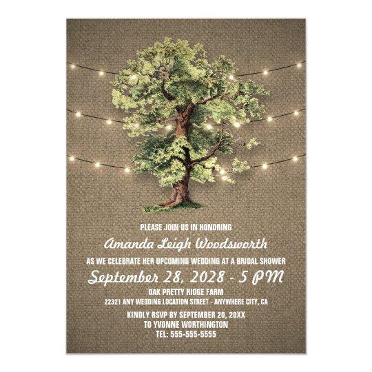 Vintage Oak Tree Bridal Shower Invitations