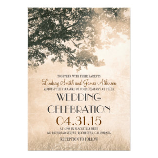 Vintage oak tree love birds wedding invites