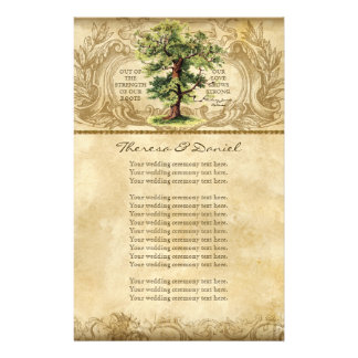 Vintage Oak Tree of Life Swirl Etchings Parchment Personalized Stationery