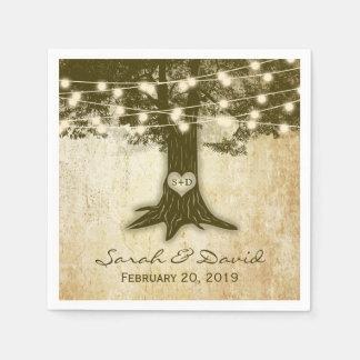 Vintage Oak Tree String Lights Wedding Disposable Napkin