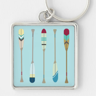 Vintage Oars Silver-Colored Square Keychain
