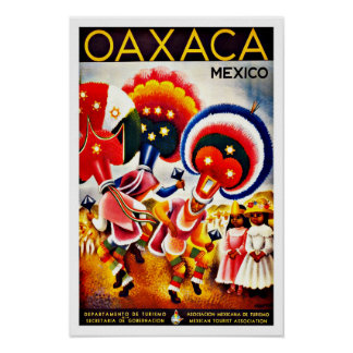 Vintage Oaxaca Dance Festival Mexico Travel Poster