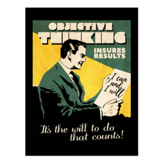 Vintage 'Objective Thinking' Motivation postcard