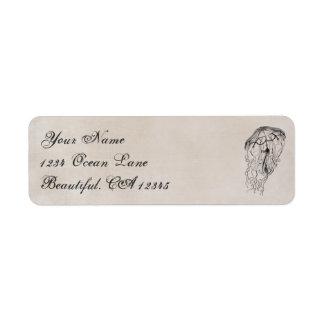 Vintage Ocean Jellyfish Beach Address Label
