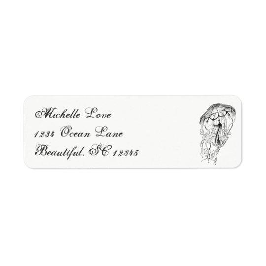 Vintage Ocean Jellyfish Beach Black White Address Return Address Label