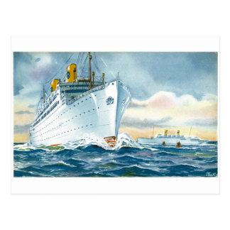 Vintage Ocean Liners Travel Poster Postcard