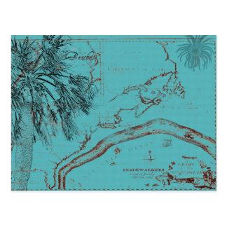Vintage Ocean Map Collage Turquoise Postcard