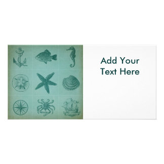 Vintage Ocean Theme Collage Personalized Photo Card