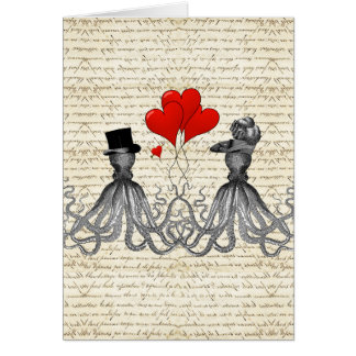 Vintage octopi and hearts card