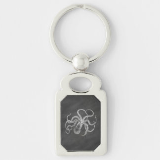 Vintage Octopus Chalkboard Background Template Keychain