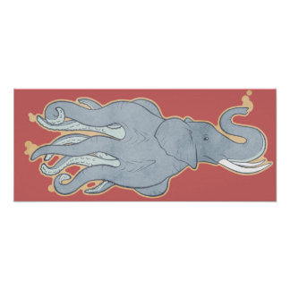 Vintage Octopus Elephant Poster