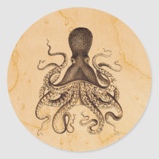 Vintage Octopus Illustration in Browns Classic Round Sticker