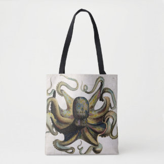 Vintage Octopus Print All Over Print Tote Bag
