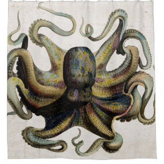Vintage Octopus Print Shower Curtain