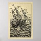 Vintage Octopus Ship Art Print
