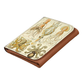 Vintage Octopus Squid Gamochonia by Ernst Haeckel Leather Wallet