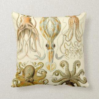 Vintage Octopus Squid Gamochonia by Ernst Haeckel Throw Pillow