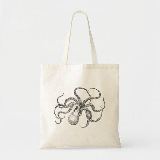 Vintage Octopus Template Canvas Bags
