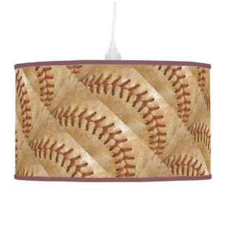 Vintage Off White Baseball  diamond Pendant Lamp