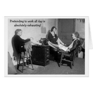Vintage Office - Pretending to Work, Card