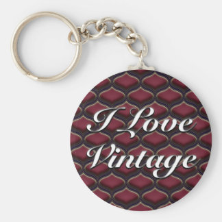 Vintage Ogee Red Berries Basic Round Button Keychain