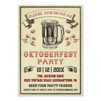 Vintage Oktoberfest Party Invitation