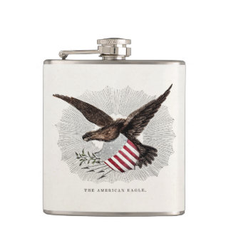 Vintage Old 1800s American Eagle Bird Illustration Hip Flask