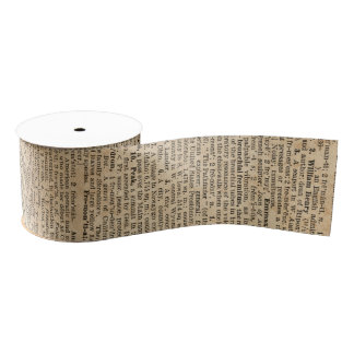 Vintage Old Book Dictionary Page Ribbon Grosgrain Ribbon