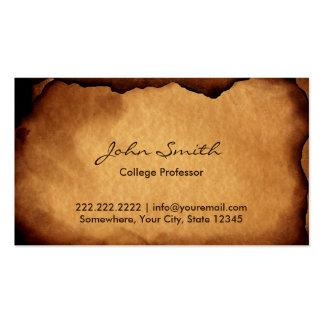 Vintage Old Burned Paper Professor Business Card Template