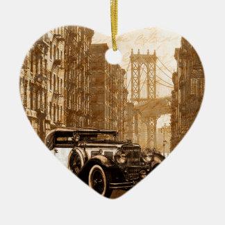 Vintage Old car Ceramic Heart Ornament