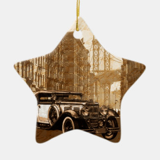 Vintage Old car Ceramic Star Ornament
