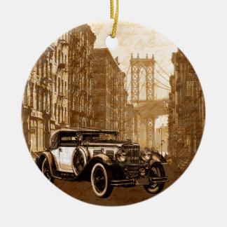 Vintage Old car Round Ceramic Ornament