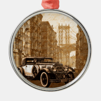 Vintage Old car Silver-Colored Round Ornament