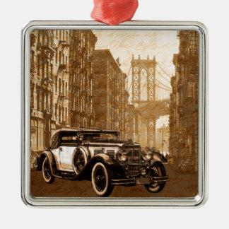 Vintage Old car Silver-Colored Square Ornament
