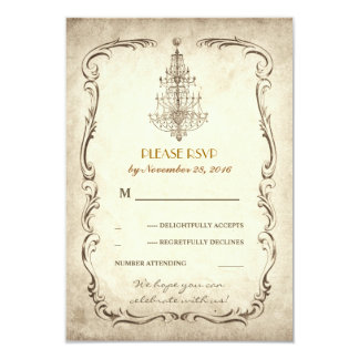 vintage old chandelier wedding RSVP cards