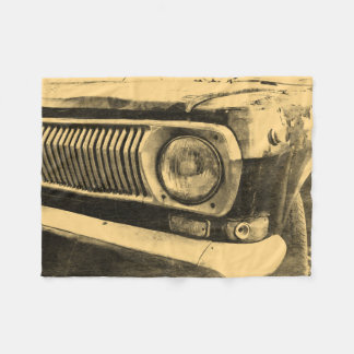 Vintage Old Classic Car Headlight Fleece Blanket