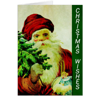 Vintage Old Classic Santa with Christmas Tree Card
