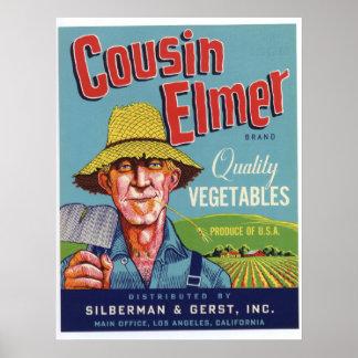Vintage Old Cousin Elmer Vegetables Crate Labels Poster