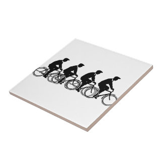 Vintage Old Fashion Bicycles Cyclist Ride Tile