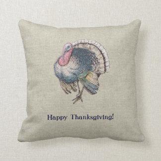 Vintage Old-Fashioned Thanksgiving Turkey Throw Pillow
