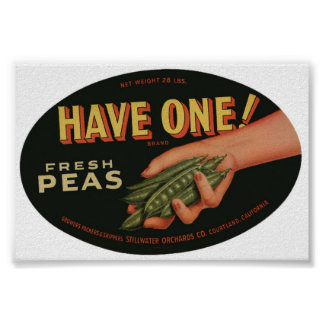 Vintage Old Fresh Peas Crate Labels Poster