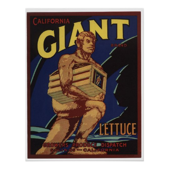 Vintage Old Giant Lettuce Vegetables Crate Labels Poster