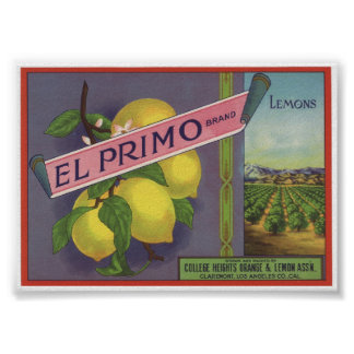 Vintage Old Lemons Fruit Crate Labels Poster