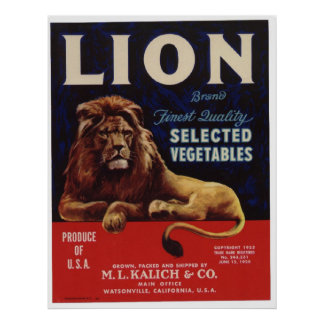 Vintage Old Lion Vegetables Crate Labels Poster