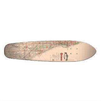 Vintage Old Map of Chicago - 1893 Custom Skate Board