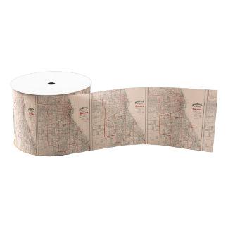 Vintage Old Map of Chicago - 1893 Grosgrain Ribbon