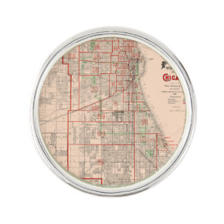 Vintage Old Map of Chicago - 1893 Lapel Pin