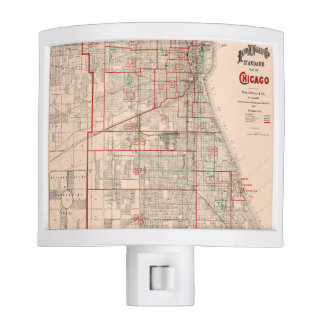 Vintage Old Map of Chicago - 1893 Night Lite