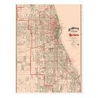 Vintage Old Map of Chicago - 1893 Postcard